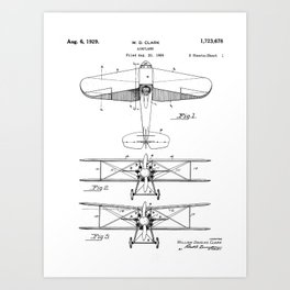 Biplane Patent - Aviation Art - Black And White Art Print
