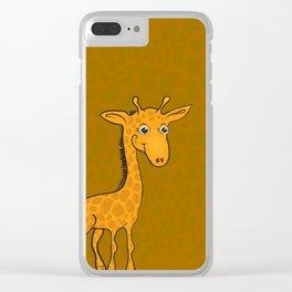 Giraffe - Sepia Brown Clear iPhone Case