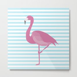 Flamingo Blue Stripes Metal Print