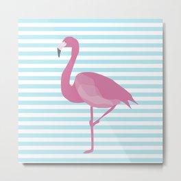Flamingo Blue Stripes Metal Print