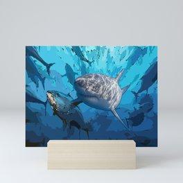 Blue shark under ocean  Mini Art Print