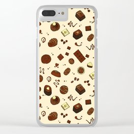 Chocolate Truffles Bonbons and Candy Pattern Clear iPhone Case