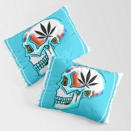 Pot Head Skull Leaf Art Design Pillow Sham