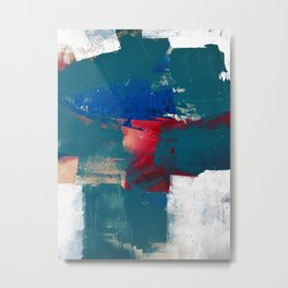 0923: a mixed media piece in teal red and blue by Alyssa Hamilton Art Metal Print