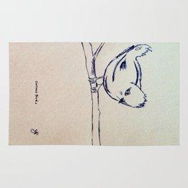 Curious Bird Ink Drawing Rug