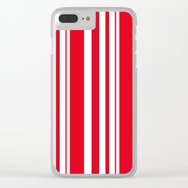 White and red striped . Clear iPhone Case