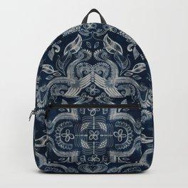 Indigo blue dirty denim textured boho pattern Backpack