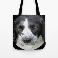 border collie Tote Bags featuring Border Collie by Doug McRae
