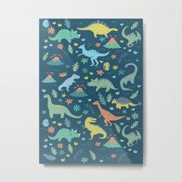 Kawaii Dinosaurs in Teal + Coral + Yellow Metal Print