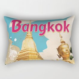 Bangkok Vintage Travel Poster Rectangular Pillow