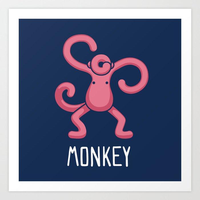 A Monkey (That is Definitely not an Octopus) Art Print