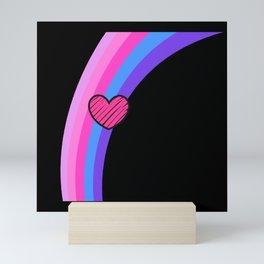 Scribbly Heart Magenta Rainbow Mini Art Print