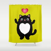 fat Shower Curtains featuring Fat Cat by Anna Alekseeva kostolom3000