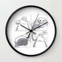 big hero 6 Wall Clocks featuring Big Hero 6 - Baymax  by MarcoMellark
