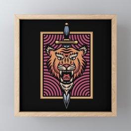 Tiger head with sword Framed Mini Art Print