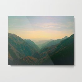 Mountain Valley Parallax Green Yellow Hues Sunset landscape Minimalist Modern Photo Metal Print