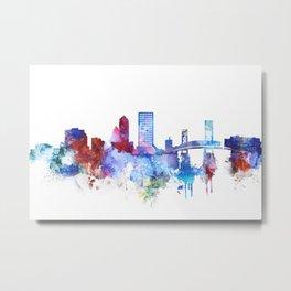 Jacksonville watercolor skyline Metal Print