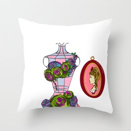A Decor of Succulents on a Dress-form and a Cameo Throw Pillow