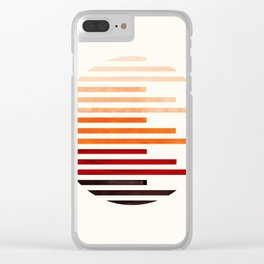 Mid Century Modern Minimalist Circle Round Photo Burnt Sienna Staggered Stripe Pattern Clear iPhone Case