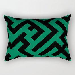 Black and Cadmium Green Diagonal Labyrinth Rectangular Pillow