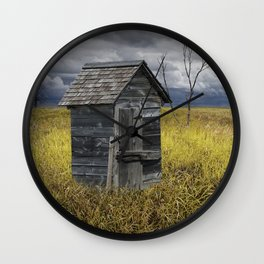 Rural Outhouse langishing in the Countryside Wall Clock