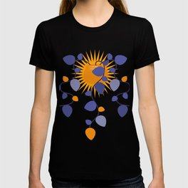 cute flowers and sun,Leaves, Doodle T-shirt