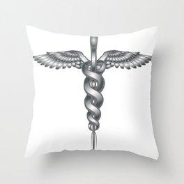 Caduceus Medical Symbol Throw Pillow