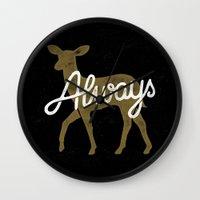 snape Wall Clocks featuring Always by WEAREYAWN