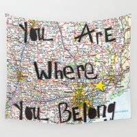 houston Wall Tapestries featuring Where You Belong-Houston by The Little Illustrator