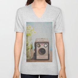 A vintage Kodak camera & a jar full of daisies. Unisex V-Neck