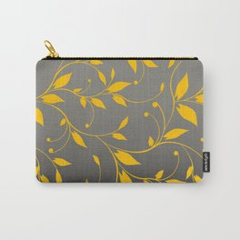 FLOWERY VINES | grey yellow Carry-All Pouch