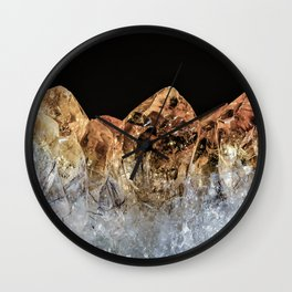Fire and Ice Citrine crystals Wall Clock