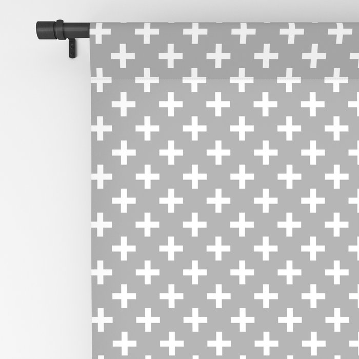 Criss Cross | Plus Sign | Grey and White Blackout Curtain