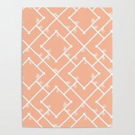 Bamboo Chinoiserie Lattice in Peach + White Poster