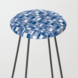 Mod Gingham - Blue Counter Stool