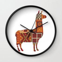 Llama Inca Textiles Gift For Llama Lover Wall Clock