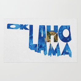Oklahoma Typographic Flag Map Art Rug