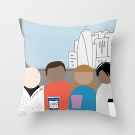 Squished on a subway Throw Pillow