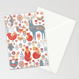 Seamless pattern with winter forest, deer, owl and Fox. The Scandinavian style. Stationery Cards