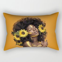 Sunflower Woman Rectangular Pillow