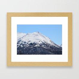 Blue Sky and Snowy Mountain Top Framed Art Print