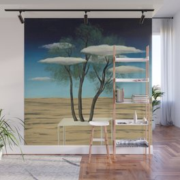 The Oasis, 1925 surreal oasis in the desert landscape painting by Rene Magritte Wall Mural