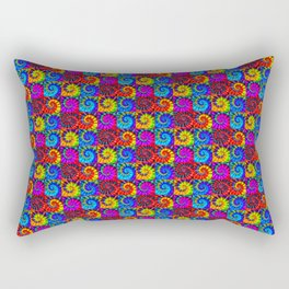 Spiral Tie Dye Checkerboard Rectangular Pillow