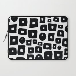 Geometrical hand painted black white squares circles Laptop Sleeve