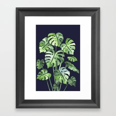 Delicate Monstera Blue #society6 Framed Art Print