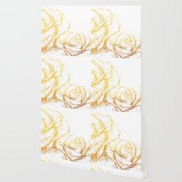 Vintage Roses Floral Gold Decorative Wallpaper