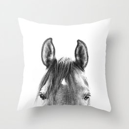 peekaboo horse, bw horse print, horse photo, equestrian print, equestrian photo, equestrian decor Throw Pillow