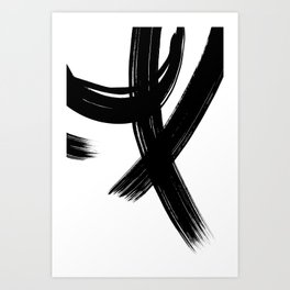 Black Abstract Brush Strokes nr 1 Art Print