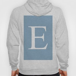 Letter E sign on placid blue color background Hoody