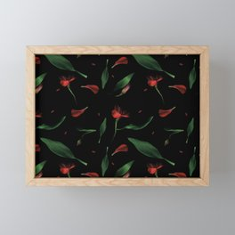 Moody Flowers and leaves on a black background Framed Mini Art Print